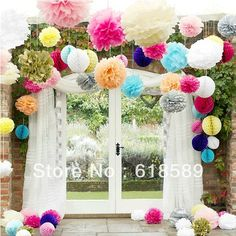 Free Shipping 15 pcs 25cm(10inch) Tissue Paper Pom Poms Wedding Party Decor Craft Paper Flower For Wedding Decoration $12.20