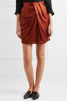 Atlein - Draped Metallic Satin Mini Skirt - Brick - FR