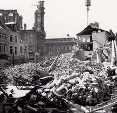 Leuven Naamsestraat na het bombardement van 1944