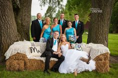 Hay bale couch l Rustic wedding l Bridal party photo l The Farmhouse Weddings l Nappanee, IN