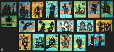 Haunted Houses- background is made of tissue paper that has been wet, then peeled. Haunted houses are then sketched and colored in with black marker.