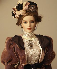 Tyler repaint and Edwardian outfit by Renee. Hat by Peggy Feltrope. Pretty Dolls, Beautiful Dolls, Ooak Dolls, Barbie Dolls, Edwardian Clothing, Poppy Parker, Doll Costume, Costumes, Victorian Dolls