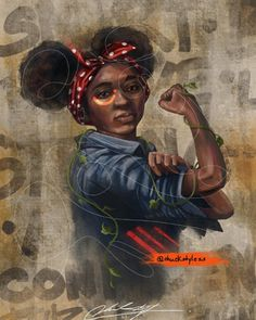"""Black Girl Strong"" by Canvas Artwork, Canvas Art Prints, Canvas Wall Art, Mens Knitted Cardigan, Rosie The Riveter, African American Art, Strong Girls, Black Art, Wood Bars"