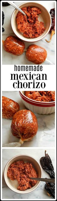 """I used to have such """"food envy"""" about Mexican Chorizo. See, I couldn't buy it where I lived. So sad, huh? That's when I learned to make Homemade Chorizo, and making it at home is so much fresher - plus it can be customized. It will blow you away! Comida Latina, Mexican Cooking, Mexican Food Recipes, Quirky Cooking, Homemade Chorizo, Homemade Breads, Homemade Sausage Recipes, Homemade Recipe, Pork Recipes"""