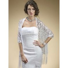 White with Silver Sequins Wrap Shawl - perfect for Prom or wedding dress