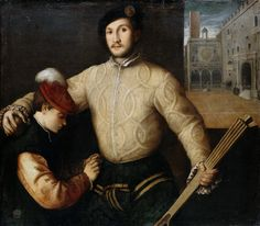 Beccaruzzi, Francesco - Portrait of a ball player with his page (1492-1563) 104x118cm 15th century, 16th century. Doublet, Cape, Capelet, Romeo, revels, faire, Elizabethan, Tudor, Renaissance