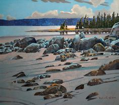 """""""Calvert Two"""" by Robert Genn. I find this an odd piece.to me it feels like the rocks are floating. Want to spend some time thinking about why that is. Canadian Painters, Canadian Artists, Landscape Art, Landscape Paintings, Hyperrealism, Art Studies, Pictures To Paint, Plein Air, Creative Art"""