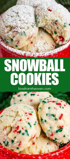 These Snowball cookies are SO easy, they only take a few ingredients, you don't need eggs, baking powder or baking soda, and they are buttery and delicious. I love to add red and green sprinkles or chocolate chips. Köstliche Desserts, Holiday Desserts, Holiday Baking, Holiday Recipes, Delicious Desserts, Easy Christmas Baking Recipes, Christmas Sugar Cookies, Christmas Snacks, Christmas Cooking