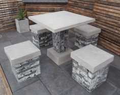 Outdoor Décor Trend: 26 Concrete Furniture Pieces For Your Backyard Concrete Outdoor Furniture, Outdoor Furniture Sets, Outdoor Decor, Modular Furniture, Concrete Patio, Beton Design, Concrete Design, Retaining Wall Design, Retaining Walls