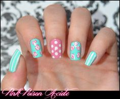 Vintage Nails.These are cute,but I'd shape them differently if I was doing this style on myself.