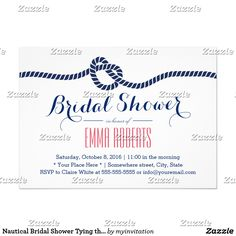 Nautical Bridal Shower Tying the Knot Navy Blue Card Navy Blue Tying the Knot Bridal Shower Invitations.