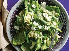 Citrus, Quinoa, and Spinach Salad | The supergrain quinoa offers a double punch of nutrition by being both high in fiber and in protein.  See how to use it in a variety of recipes from breakfast cereal to salads and hearty main dishes.