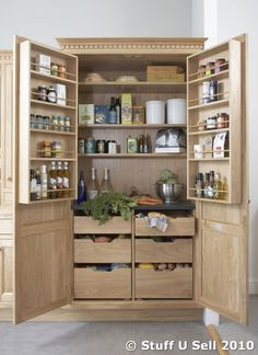 kitchen storage units | NFC Oak Kitchen Larder Storage Cabinet Unit W/ Drawers & Racking RRP ...