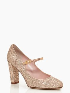 Round toe, thick heel, mary jane strap, gold, & glitter = best holiday party shoe ever!