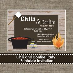 Chili buffet with a bonfire.  Oh the possiblities for Fall.