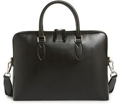 Men's Burberry 'New London' Calfskin Leather Briefcase - Black