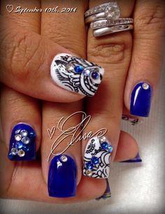 Cobalt blue nail art and Konad stamping #thenailsbyelisa