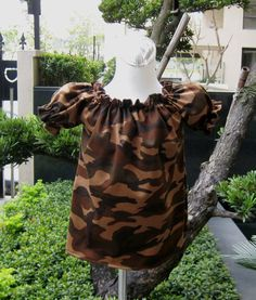 Camouflage Brown Peasant Top Custom Boutique 12M   by FRANCISBEL