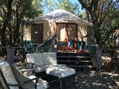 in Boulder Creek, US. The Yurt is nestled under oak trees on a beautiful private 23 acre property. We have multiple hiking paths, several view points, and a private valley to explore.  You'll love the expansive views, the privacy, and the seclusion. It's ideal for anyo...
