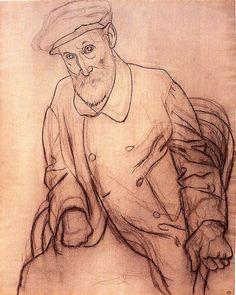 "pablopicasso-art: "" Portrait Of Pierre Auguste Renoir 1919 Pablo Picasso "" Kunst Picasso, Pablo Picasso Drawings, Picasso Art, Picasso Paintings, Henri Rousseau, Henri Matisse, Amedeo Modigliani, Pierre Auguste Renoir, Francisco Goya"