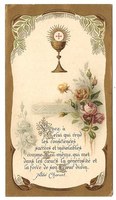 Gold Communion Chalice & Roses Antique Art by 12StarsVintage