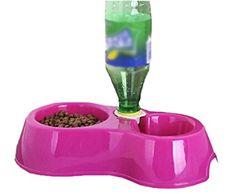 Double Plastic Dog Cat Puppy Pet Bowl Non Slip Food Water Feeding Dish (29.5CM15CM8CM, Rose red)