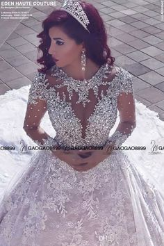 Cheap dress up wedding gowns, Buy Quality dresses confirmation directly from China gown dresses for sale Suppliers: vestido noiva Bling Lace Wedding Dresses 2017 Arabic Wedding Gowns Ball Gown Long Sleeve Beads Long Bridal Gowns robe de mariage Sheer Wedding Dress, Luxury Wedding Dress, Wedding Dress Sleeves, Long Wedding Dresses, Bridal Dresses, Lace Wedding, Gown Wedding, Crystal Wedding, Bridesmaid Dresses
