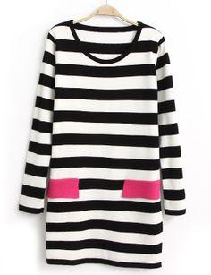Black White Striped Long Sleeve Pockets Knit Dress - Sheinside.com