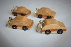 A Wooden car keyring, or a miniature wooden toy car. these look fun! Great little eye catching and fun keyrings - and YES, the wheels do turn. Making Wooden Toys, Wooden Car, Cnc Machine, Key Chain, Wood Crafts, Miniatures, Friday, Xmas, Woodworking