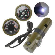 7 in 1 Multifunctional Military Survival Kit Magnifying Glass Whistle Compass Thermometer LED Light