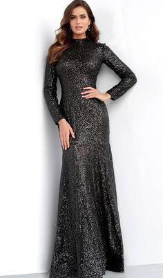 c4034ce14276 Jovani - 63345 Glitter Long Sleeve High Neck Gown