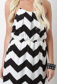 summer chic - black and white chevron dress