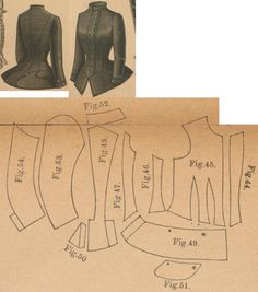 Der Bazar 1887: Springtime paletot from black woollen with black satin lining (suitable for confirmands too); 44. overlaping front part, 45. front part, 46. and 47. side gores, 48. back part in half size, 49. bottom peplum, 50. back part's peplum, 51. pocket, 52. collar in half size, 53. and 54. sleeve parts