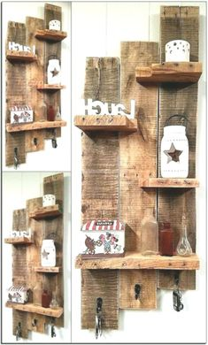 Wooden Pallet Shelves, Wooden Pallet Projects, Wooden Pallet Furniture, Wooden Pallets, Pallet Wood, 1001 Pallets, Outdoor Furniture, Garden Furniture, Small Wooden Projects