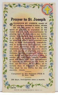 Prayer to St. Joseph by Pope St. Pius X - Google Search