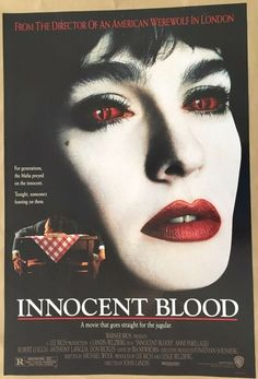 Items similar to Innocent Blood . Original Vintage 1992 Movie Poster One-Sheet - Anne Parillaud John Landis on Etsy Horror Posters, Cinema Posters, Film Posters, American Werewolf In London, American Horror, Best Friend Love, Friends In Love, Quad, Anthony Lapaglia
