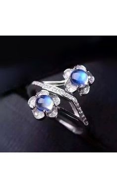 Fascinating 2 Blue Moonstone Stones Flower Style Cocktail Silver Ring