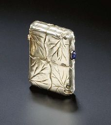 Faberge Vesta 1896-1908. A GEMSET GOLD VESTA CASE  MARKED WITH THE INITIALS KF FOR CARL FABERGÉ, MOSCOW.