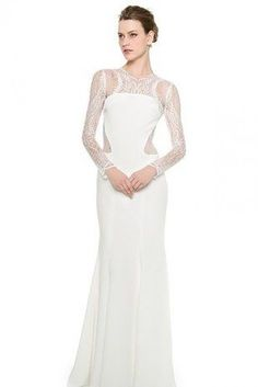 37e8911826 Monique Lhuillier Halle Long Sleeve Sheath Gown - Silk White and other  apparel