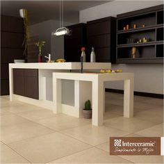 Si el #mármol  de tu #cocina ha tomado una coloración amarillenta, aplicar con un cepillo suave una mezcla de agua y vinagre. Línea Crema Marfil Selecto de #Interceramic, #piso color beige esmaltado.