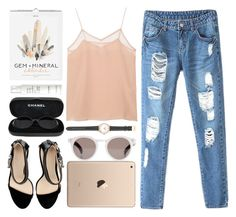 """mineral"" by anastazia-jae ❤ liked on Polyvore featuring Cami NYC, Zara, Chanel, This Works, Illesteva and J.Crew"