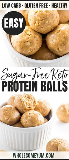 Keto Low Carb Peanut Butter Protein Balls Recipe - 4 Ingredients - These no bake low carb peanut butter protein balls with protein powder are quick and easy to make. Just 4 ingredients & 10 minutes prep! Peanut Butter Power Balls, Peanut Butter Snacks, Peanut Butter No Bake, Peanut Butter Protein, Peanut Butter Recipes, Protein Snacks, Low Carb Protein, Protein Ball, Healthy Protein
