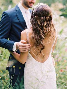 Wedding Hairstyles: rustic half up half down wedding hairstyle ideas