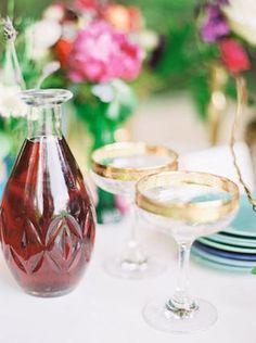 Gold rimmed glasses | see more on: http://burnettsboards.com/2015/11/rustic-jewel-toned-wedding/