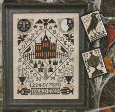 10% Off PRE-ORDER cross stitch patterns : Nevermore Prairie Schooler Halloween hand embroidery