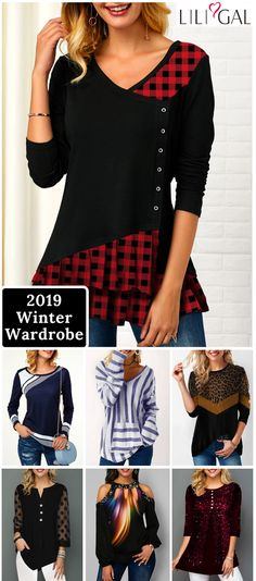 Free Shipping & Easy Return. Liligal cute tops, plaid t shirts, cozy sweaters, comfy fall winter outfits for women, shop now~ #liligal #womensfashion #tshirt #sweater