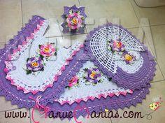 Jogo de Banheiro Rosa e Lilás 4 peças