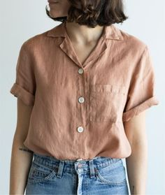 Short Sleeve in Rust Linen