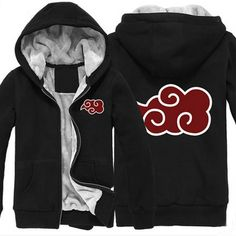 Camplayco Naruto Akatsuki Organization Black Thick Padded Hoodie Size XL *** Click image to review more details.