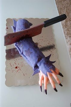Just the pic, but I usually don't do cakes that EVERYTHING isn't edible.  I have one of the hands, extra long loaf pan & I would use butter cream icing.  Fondant is not an option.